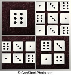 Set of White Dices on the hand draw doodle background. Vector illustration.