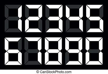 Set of white digital number on black