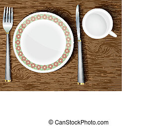 set of white dishes on a wooden table