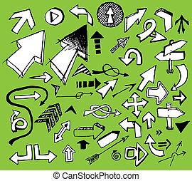 Set of white doodle arrows