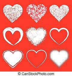 Set of white doodle grunge hearts icons on red backgroun