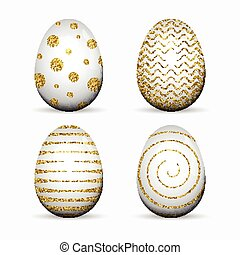 Set of white Easter eggs with gold glitter textured dots, stripes on white background.