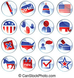 Set of white election icons - Set of glossy round buttons ...