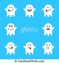 set of white emoji ghost on blue background. concept of ...