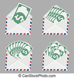 Set of white Envelope with money inside