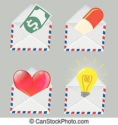 Set of white Envelope with Money, Pill, Red Heart and Light bulb inside