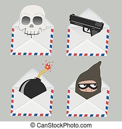 Set of white Envelope with Skull, gun, bomb and Thief inside...