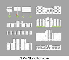 Set of white fence with grass and gates and wooden boards on a gray background. Vector illustration