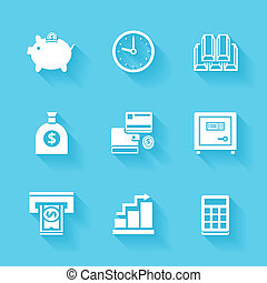Set of white finance and money icons.