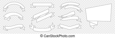 Set of White Flat Style Flags and Ribbons Design Elements