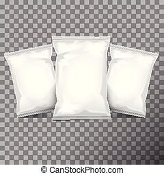Set of white foil bag packaging for food, snack, coffee, cocoa, sweets, crackers, nuts, chips. Vector plastic pack template set