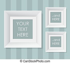 Set of white frames over striped background. Vector illustration.