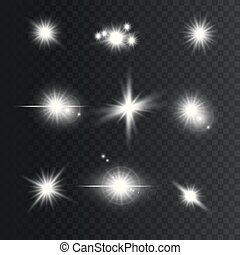 Set of white Glowing lights and stars. Isolated on transparent background. Vector illustration