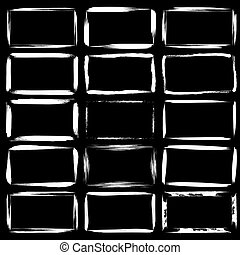 Set of white grunge rectangle frames