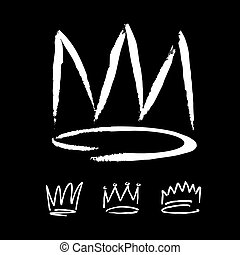 set of white hand drawn crowns - Set of crowns hand drawn by...