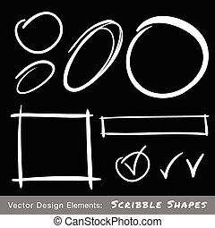 Set of White Hand Drawn Scribble Shapes, vector design...