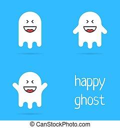 set of white happy ghost emoji. concept of creepy specter, ...