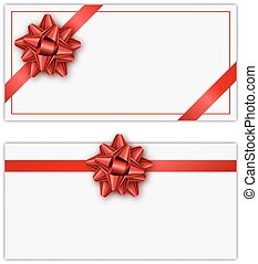 Set of white holiday gift card with red ribbon and bow. Template for a business card, banner, poster, notebook, invitation