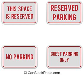 Set of white horizontal signs for parking zone.