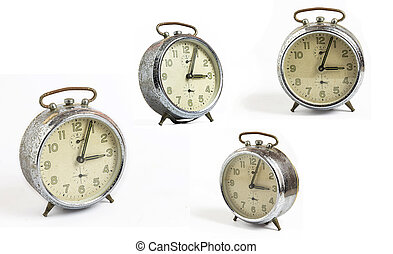 set of white isolated old clock vintage style
