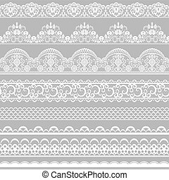 lace borders - Set of white lace borders isolated on gray...