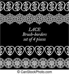 Set of white lace borders on black background