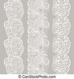 Set of white lacy vintage elegant trim.