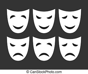 set of white masks with different emotions.