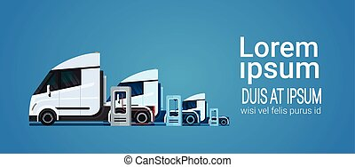 Set Of White Modern Semi Truck Trailer Charging At Electic...