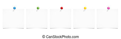 set of white note paper with colorful pins isolated on a white background