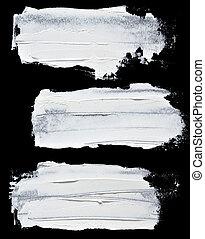 Set of white oil paint brush strokes