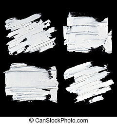 Set of white oil paint textured brush strokes