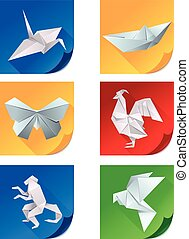 Set of white origami animal icons
