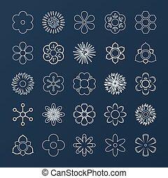 Set of White Outline Flowers