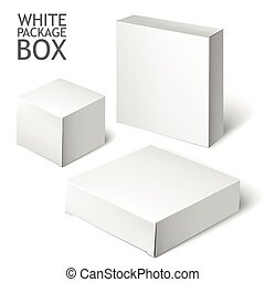 Set Of White Package Square. Cardboard Package Box