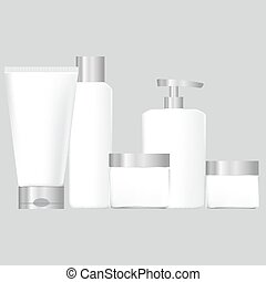 set of white packaging for cosmetic