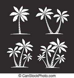 Set of White Palm Trees. Vector illustration on black background