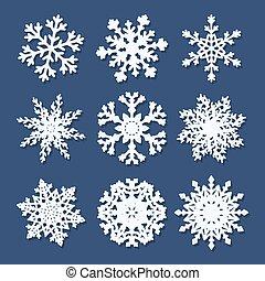 Set of white paper snowflakes