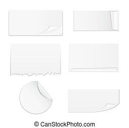 Set of White Paper Stickers Isolated on White Background.  Vector illustration