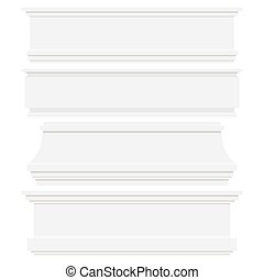 Set of white plastic or wood baseboards isolated on white background.