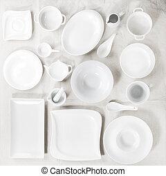 Set of white plates - Big set of empty white porcelain...