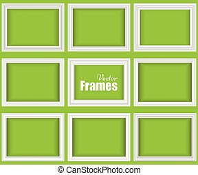 Set of white realistic frames
