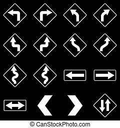 Set of white road traffic signs. Vector