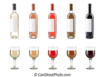 set of white rose and red wine bottles and glasses on white background
