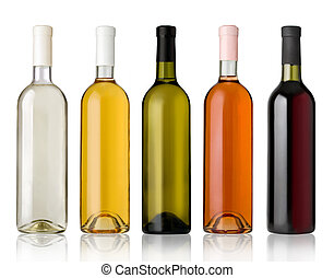Set of white, rose, and red wine bottles.isolated on white...