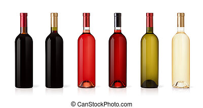 Set of white, rose, and red wine bottles. isolated on white...