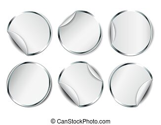 Set of white round promotional stickers