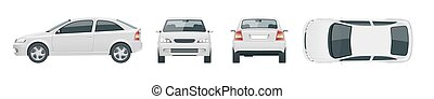Set of white Sedan Cars. Isolated car, template for car branding and advertising. Front, rear , side, top Change the color in one click All elements in groups on separate layers