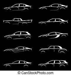 Set of white silhouette car