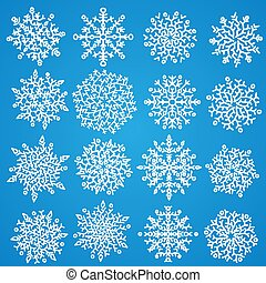 Set of white snowflakes. Holiday collection. Snowflakes collection. Vector illustration.
